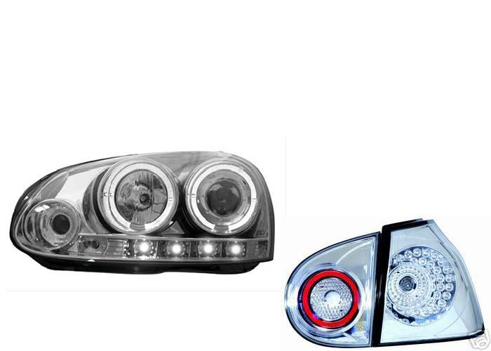 led r ckleuchten angel eyes scheinwerfer vw golf 5 chr ebay. Black Bedroom Furniture Sets. Home Design Ideas