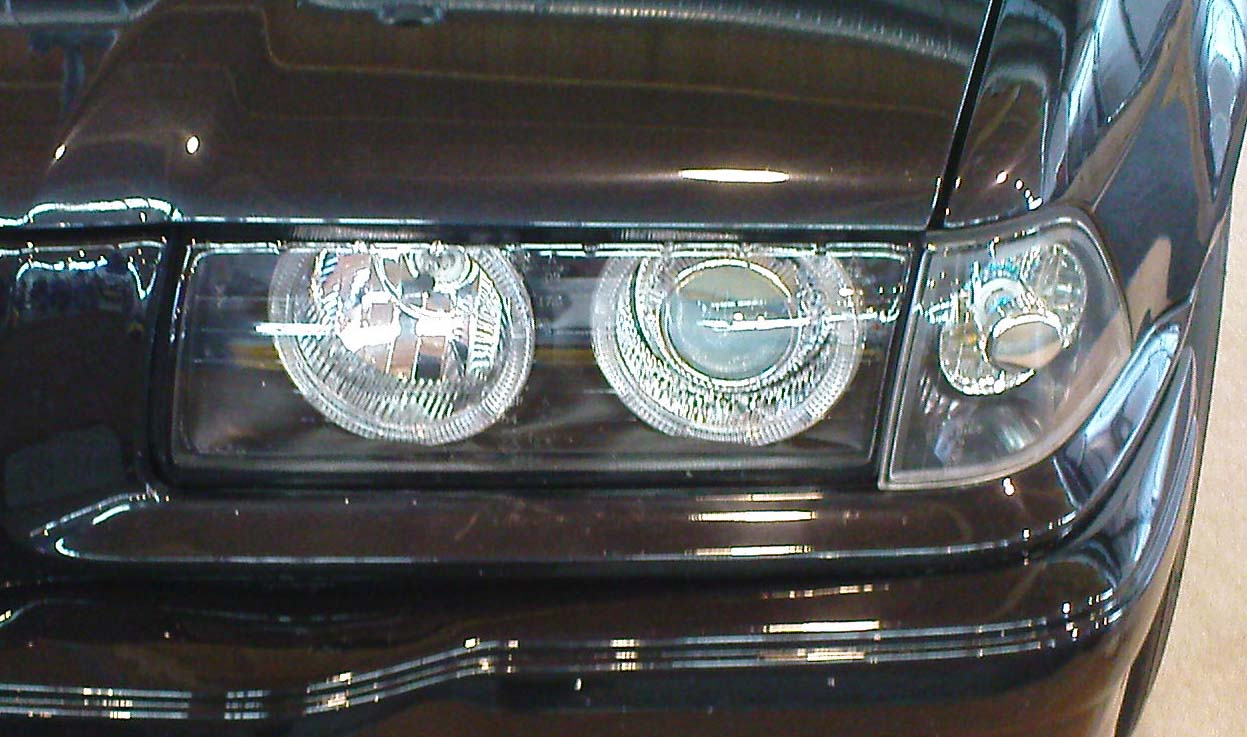 scheinwerfer angel eyes bmw e36 3er coupe schwarz depo ebay. Black Bedroom Furniture Sets. Home Design Ideas
