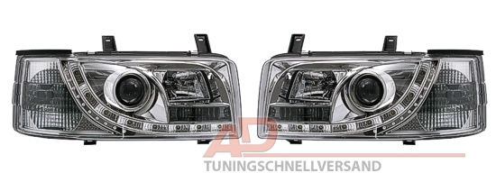 led scheinwerfer tagfahrlicht vw t4 bus chrom neu uk ebay. Black Bedroom Furniture Sets. Home Design Ideas