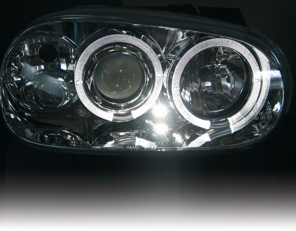 led r ckleuchten angel eyes scheinwerfer vw golf 4 chr ebay. Black Bedroom Furniture Sets. Home Design Ideas
